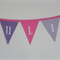 Custom made Girls bunting quality 100% cotton fabric. 13 Pink/ Mauve/White flags