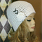 Crochet Beanie, White Wool Hat With Black Lace Flower, Gothic Beanie, Corset Hat