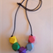Hand painted geometric faceted wooden bead necklace. BRIGHT colours