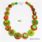 Lime Green and Orange Stripes - Button Necklace - Earrings - Jewellery