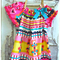 Girls Peasant Dress - Jewel - Boho Retro Print - Hot Pink - Yellow - Teal - Navy