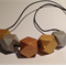 Hand painted geometric faceted wooden bead necklace.GOLD,SILVER & BRONZE colours