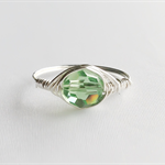 Swarovski crystal ring, apple green ring, wire wrap ring, silver ring