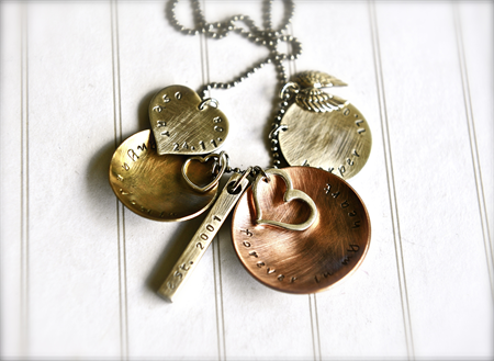 Family Personalised Necklace Hand Stamped Names Necklace Dates Mixed Metal
