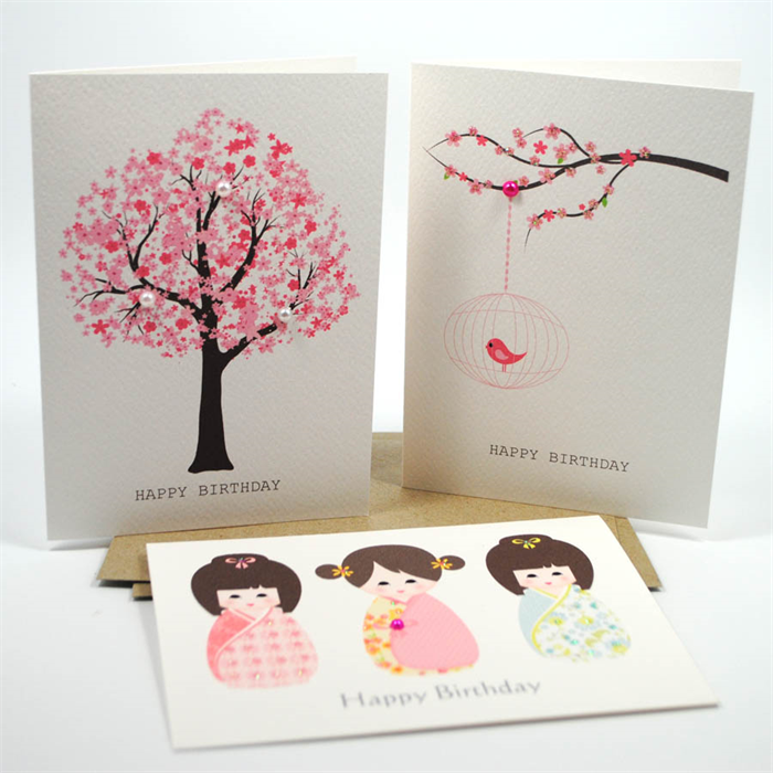 Happy Birthday Card Pack Female Set of 3 Cards CP3002 Cherry – Packs of Birthday Cards