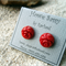 Red Bamboo Coral gemstone flowers, Sterling Silver, stud earrings