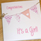 It's a Girl - new baby girl congratulations card - handmade