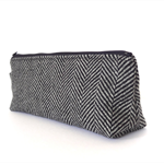 Black and Grey Herringbone Make-up Zipper Pouch // Stationery Pencil Case