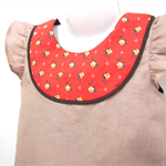 Sz3 Vintage flower 100% Linen A-line dress / Red
