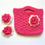Girl's Crocheted Bag and Hair Clips Set ~ Pink