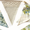 Vintage Blue & Beige Lace Floral Flag Bunting. Garden Tea Party Decoration
