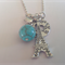 Antique Silver Eiffel Tower and Howlite Necklace