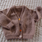 Size 1-2 yrs Hand knitted coffee coloured cardigan with mixed buttons: Unisex,