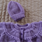 *Special* SIZE 0-4 mths - Knitted cardigan & beanie in purple by CuddleCorner
