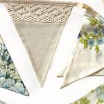 Vintage Blue & Beige Lace Floral Flag Bunting. Garden Tea Party Decoration