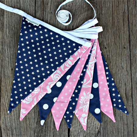 The Bella Bunting - Navy/Pink
