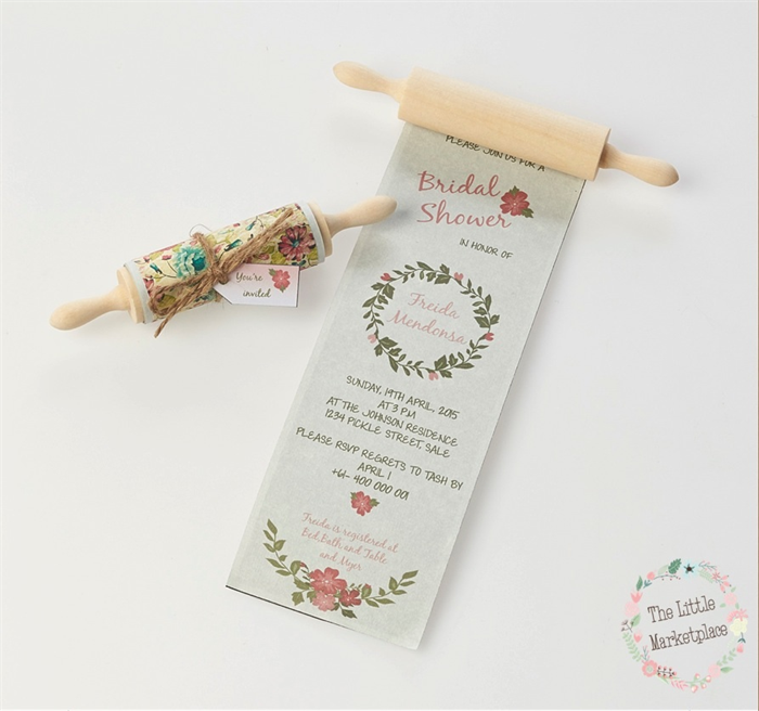 floral rolling pin invitation bridal shower kitchen tea