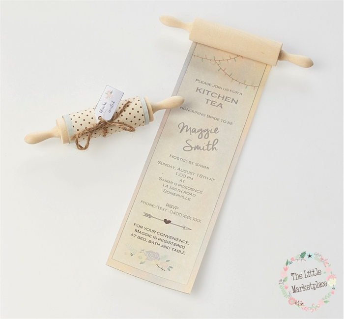 rolling pin invitations bridal shower kitchen tea weddings