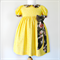 Sunday Best Dress - size 3 - butter yellow with brown and pink floral bow