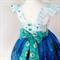 Wee Wander Dress  - size 2 blue white fireflies children grass