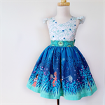 Wee Wander Dress  - size 3 blue white fireflies children grass
