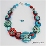 Teal Turquoise Aqua Red Spot Pearl Ceramic - Buttons - Necklace - Earrings