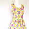 Ladies Dress, Tea Dress, Retro 50s Style, Bright Floral yellow pink.