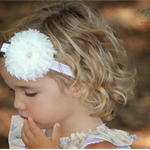 Vintage Shabby Chiffon Ivory or White Flower Headband Baby Child Girls