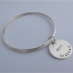 Silver bangles with stamped name disc  FREE EXPRESS POST WITHIN AUSTRALIA!