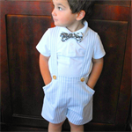 Boys Pants with Braces, grey & ivory stripe Formal wedding christening size 3