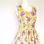 Ladies Dress, Tea Dress, Retro 50s Style, Bright Floral yellow pink.