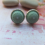 Green Mosaic Stud Earrings