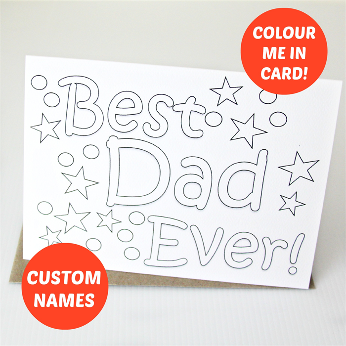 Colour In Custom Card For Him Colouring Happy Birthday Fathers Day