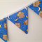 Baby blue owl bunting. Banner, decoration.