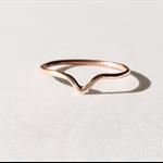 14k rose gold Chevron ring, tear drop ring, stacking ring