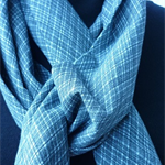 Blue grey scarf upcycled from vintage kimono fabric. Unisex