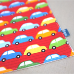wash or burp cloth - red cars / organic cotton and bamboo / baby child boy
