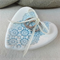 Porcelain ring dish. Turquoise ring pillow with lace and silk ribbon. Ceramic.