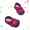 Lambswool lined leather soft soled baby shoes. Pink and purple baby girl shoes