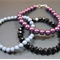 Bracelet Stack: Gothic Set: Grey, Black & Purple Beads