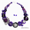 BLING Sparkle Purple Wired Buttons - Necklace - Earrings
