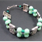 Bracelet: Two Strands Beaded with Rectangle Connectors: Mint Green