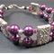 Bracelet: Two Strands Beaded with Rectangle Connectors: Purple