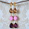 Stunning Purple, Pink and Topaz Vintage Swarovski Dangle Earrings, Boho Glamour