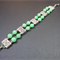 Bracelet: Two Strands Beaded with Rectangle Connectors: Jade Green