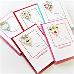 5 children's birthday cards handmade balloon party pack