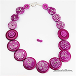 Sketchy Plum Purple - Button Necklace - Earrings - Jewellery