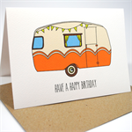 Happy Birthday Card - Male - Vintage Camper Orange - HBM049