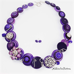 BLING Bling Sparkle Purple Wired Buttons - Necklace - Earrings