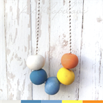 Polymer Clay Balls on Silver Ball Chain Necklace